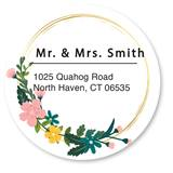Custom Floral Flag Round Address Labels