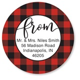 Custom Buffalo Plaid Round Address Labels