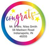 Custom Rainbow Congrats Round Address Labels