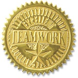 Teamwork Embossed Gold Foil Seals