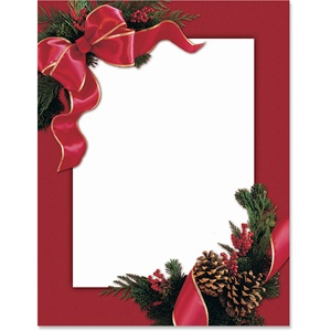 Red Ribbon And Pine Border Papers