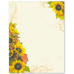 Hanukkah Greeting Cards >> Golden Sunflowers Border Papers | PaperDirect's