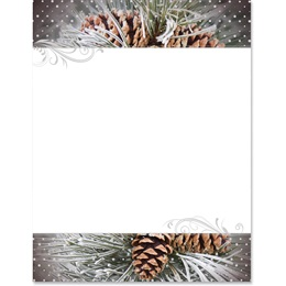 Snowy Pinecones Specialty Border Papers