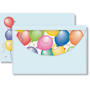 Party Balloons Crescent Envelopes