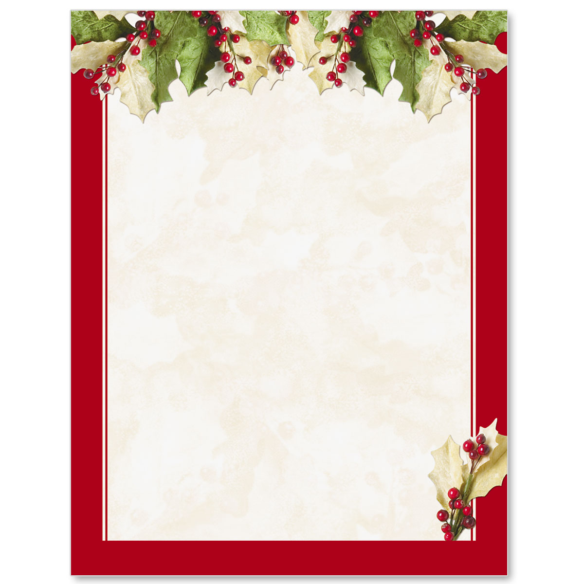 Holly Christmas Letterhead PaperDirects