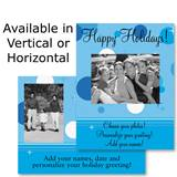 Blue Dots Holiday Photo Postcards