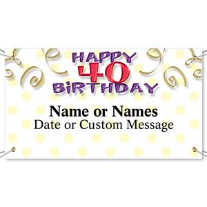 Milestone 40th Birthday Vinyl Banners