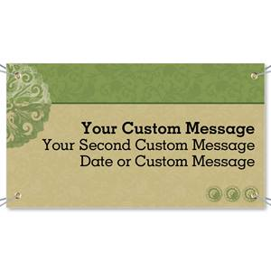 Scroll Green Tan Vinyl Banners