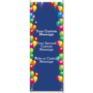 Balloons on Blue Vertical Banners
