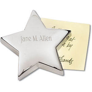 Engraved Star Paperweight Silver by PaperDirect