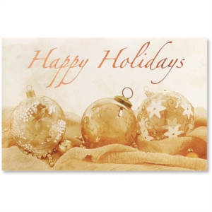 Golden Holiday Printable Greeting Cards by PaperDirect