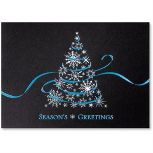 Ribbon and Crystals Deluxe Holiday Greeting Card