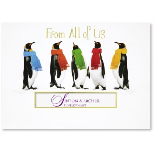 5 creative business christmas card wording phrases paperdirect blog penguin pals die cut holiday greeting cards by paperdirect reheart Images