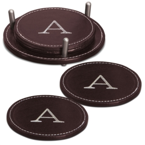 Personalized Leather Coasters by PaperDirect