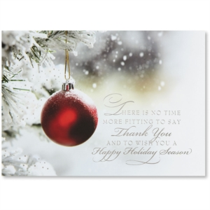Crimson Thank You Deluxe Holiday Greeting Card by PaperDirect
