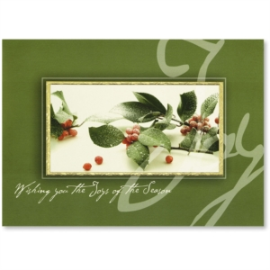 Joyful Berries Deluxe Holiday Greeting Card by PaperDirect