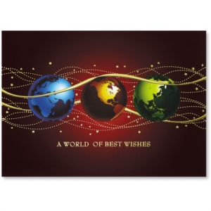 Colorful Globes Deluxe Holiday Greeting Card by PaperDirect