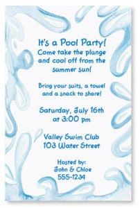 Host the hottest summer birthday party with these invitations aqua splash casual invitations stopboris Gallery