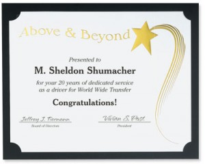 Above and Beyond Specialty Certificates