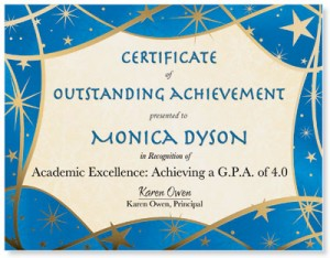 student certificates of achievement