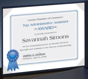Printable award certificate templates that work paperdirect blog an award certificate hung on the wall or placed yadclub Image collections