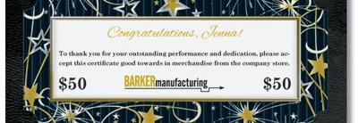 Festive Reward Gift Certificates
