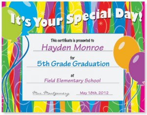 Special Day Casual Certificates
