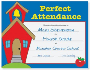 Perfect Attendance Award Casual Certificates