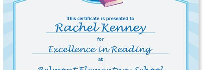 Reading Award Casual Certificate