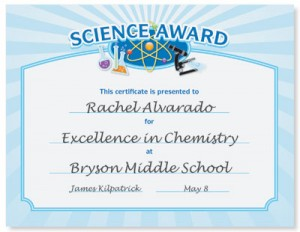 Science Award Casual Certificates