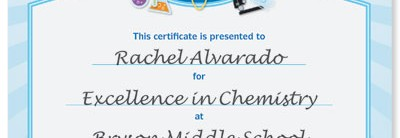 certificate wording for elementary teachers and schools