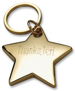 Engraved Star Key Ring Gold