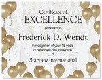 Gold Balloons Casual Certificates by PaperDirect