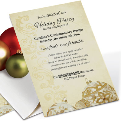 Getting to yes business christmas invitation wording paperdirect blog golden filigree casual invitations by paperdirect stopboris Choice Image