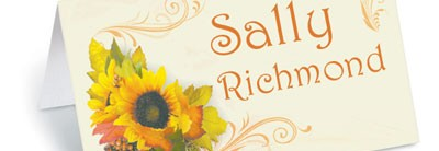 Golden Sunflowers Folded Place Cards