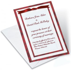 Candy Canes Sprinkled Over Highland Tradition Designed Layered Invitations