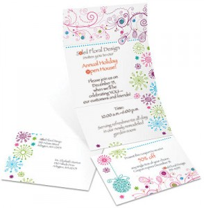 Sparkling Snowflakes Fold-Up Invitations