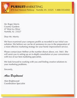 formal letter on letterhead