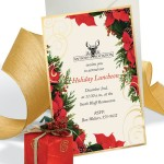 Poinsettia Swirl Specialty Flat Invitations by PaperDirect