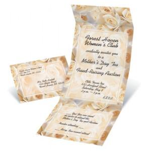 Cream Roses Fold-Up Invitations
