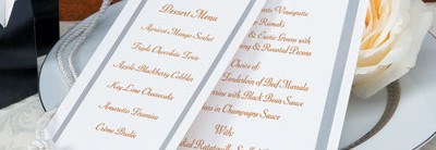 Pristine Tea Length Menu Cards