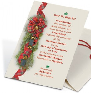 Tartan Sleigh Bells Casual Invitations by PaperDirect