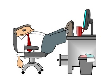 What to NOT do in your cubicle- #2 Feet on Desk