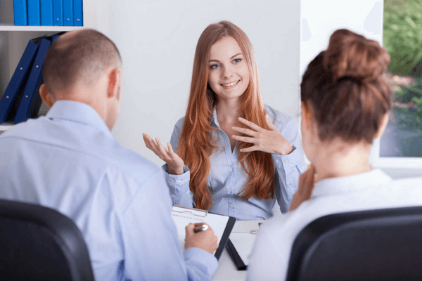 girl at first job interview tips