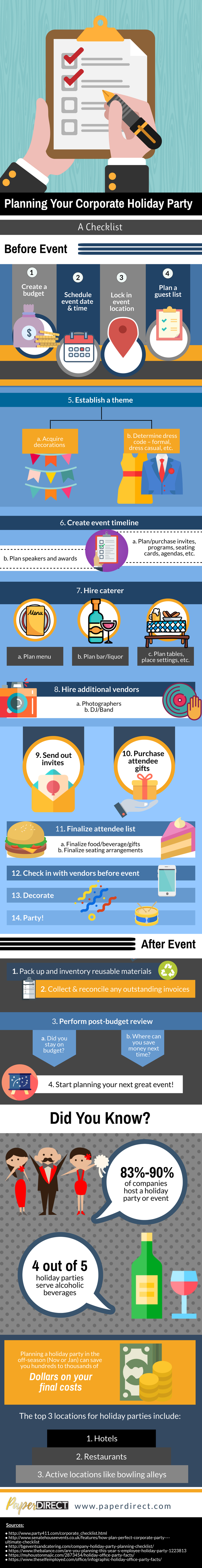 infographic planning a corporate holiday party event PaperDirect