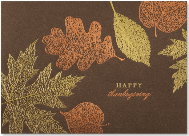 5 thanksgiving holiday cards we love paperdirect blog thanksgiving leaves card m4hsunfo