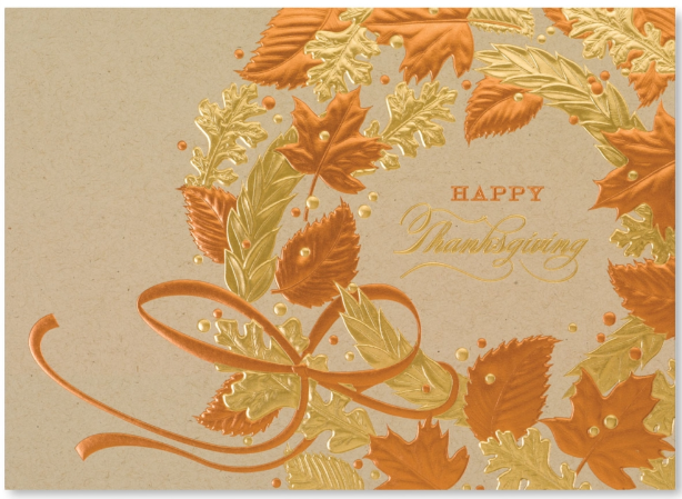 Thanksgiving Wreath Foil Card